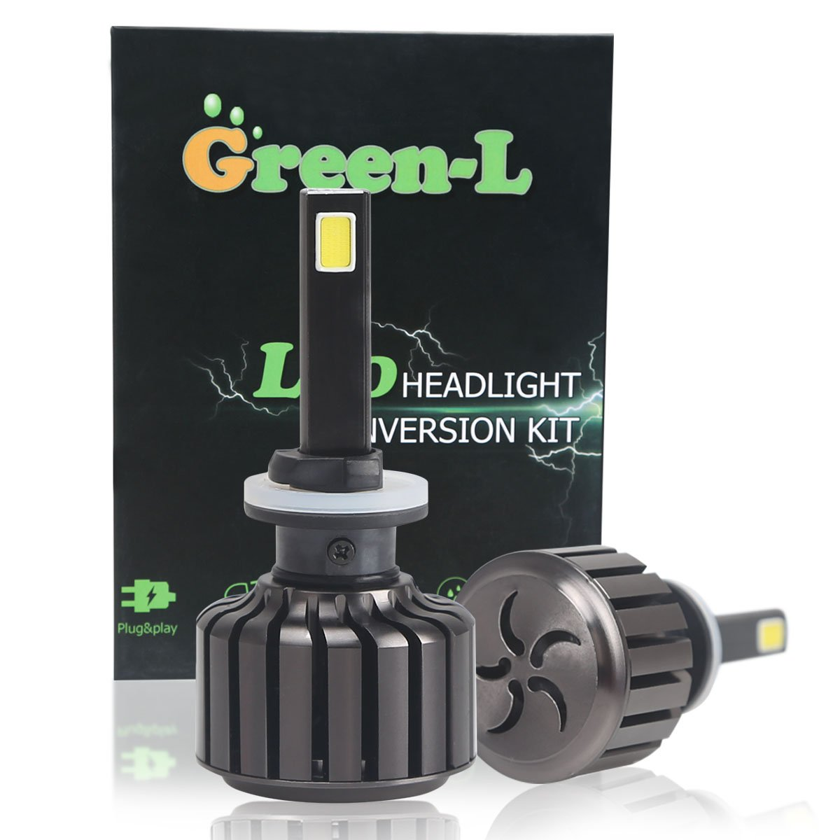 Green-L 9005 HB3 90W LED Headlight Bulbs All-in-One Conversion Kit COB Chip Car Headlight Bulbs Kit Lamp 9000lm 6000K 12V Replace for Halogen or HID Bulbs (Pack of 2pcs) Carheadlights-6N-UK
