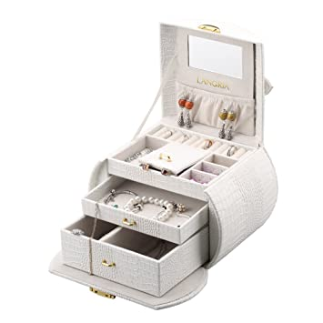 Amazoncom LANGRIA Lockable Jewelry Box Organizer Display Makeup