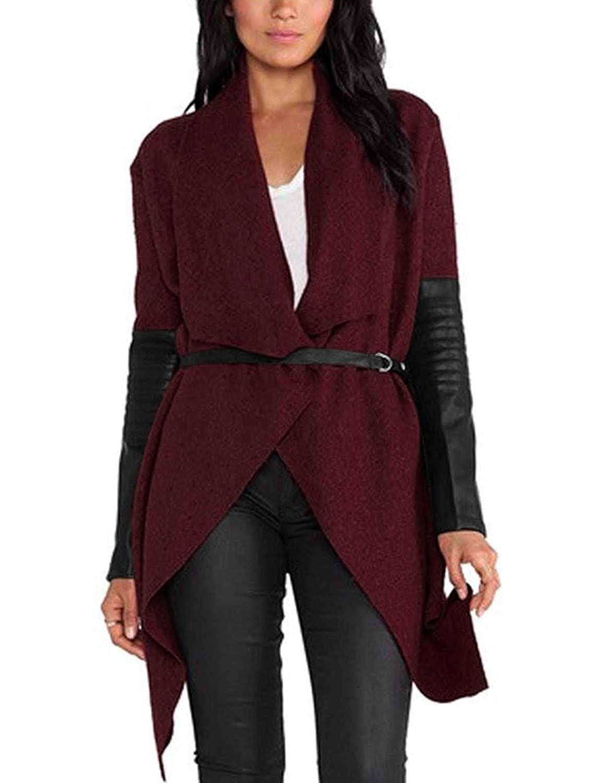 uxcell Lady Turn Down Collar PU Panel Irregular Hem Worsted Coat w Belt
