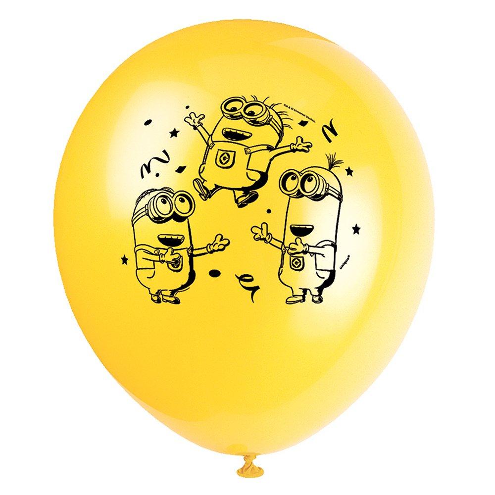 12 Latex Despicable Me Minions Balloons, 8ct Unique 44191