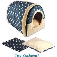 ANPI 2 en 1 Niches & Maison d'Animal Familier, Bleu Etoiles Blanche Machine Lavable Pliable Lit du Cat Trou du Chat Doux Chaud Nid Grotte Maison Lit avec Coussin Amovible, Gros