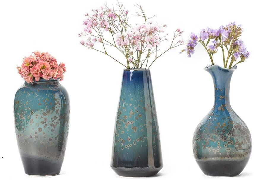 Amazon Com Ceramic Flower Vases Set Of 3 Special Design Style Of Flambed Glazed Decorative Modern Floral Vase For Home Decor Living Room Centerpieces And Events Kitchen Dining