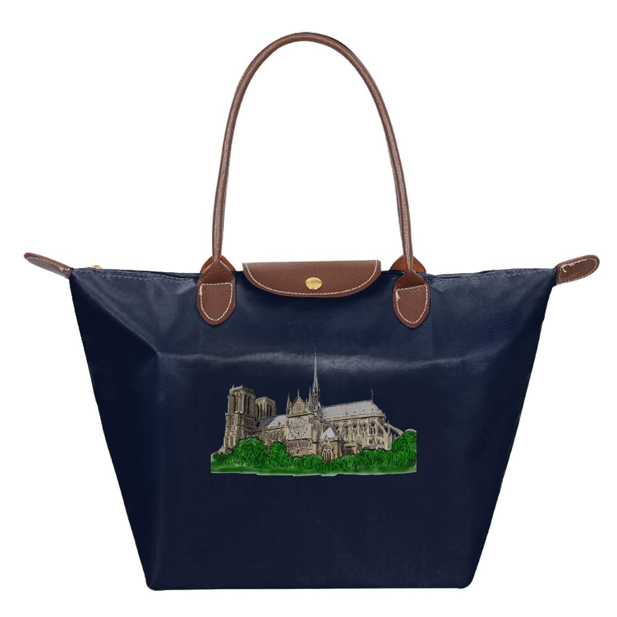Notre Dame Cathedral I Love Cath/édrale Notre-Dame De Paris In Memory Rise From The Ashes Waterproof Leather Folded Messenger Nylon Bag Travel Tote Hopping Folding School Handbags