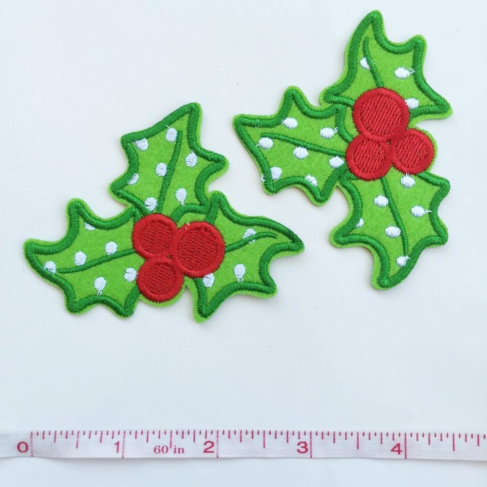 Set of 10 pcs Christmas Xmas Holly Leaves Iron On Sew On Cloth Embroidered Patches Appliques Machine Embroidery Needlecraft Sewing Girls projects