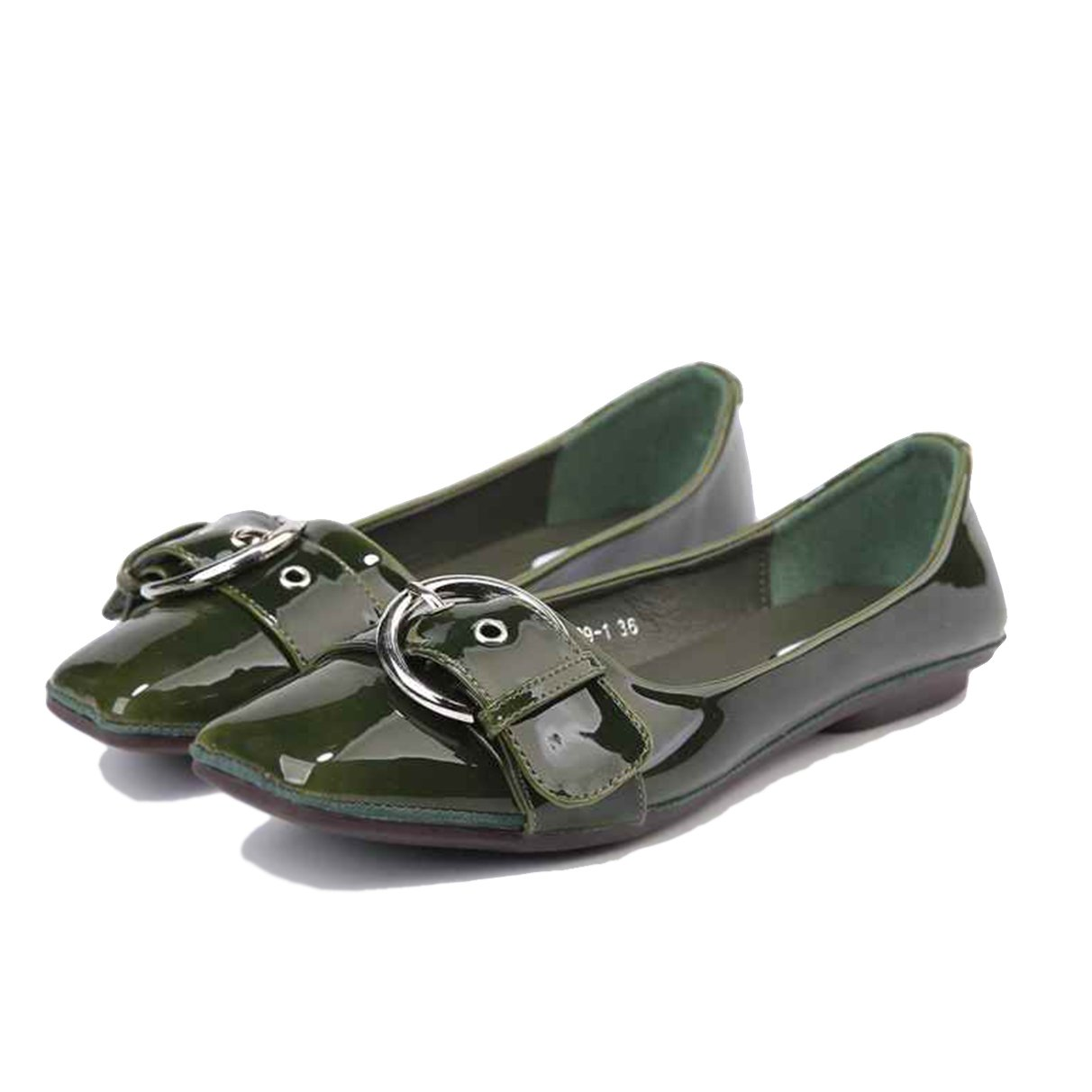 Owen Moll Women Flats, Solid Patent Leather Metal Decoration Loafers Square Toe Shoes