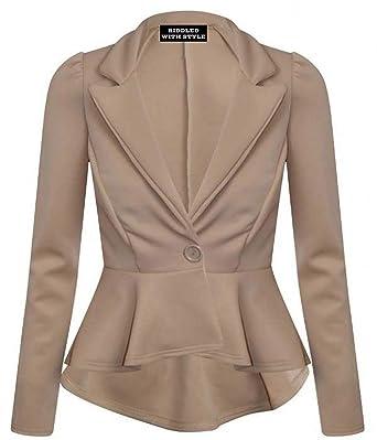 Nuevo chaqueta mujer con volante peplum oficina trabajo chaqueta para mujer abrigo Camisetas: Amazon.es: Ropa y accesorios