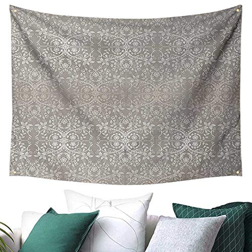 Grey Hanging Tapestry Victorian Lace Flowers and Leaves Retro Background Old Fashioned Graphic Print Blanket Home Room Wall Decor Warm Taupe Beige 80W x 60L Inch