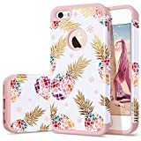 iPhone 5 case Pineapple,iPhone 5s case,iPhone SE case,Fingic Floral Pineapple Ultra Slim Case Hard PC Soft Rubber ShockProof Protective Case Cover for iPhone SE / 5S / 5,Flower Pineapple/Rose Gold