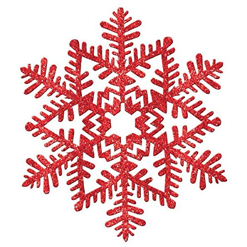 Amscan Large Glitter Plastic Red Snowflake Cutout   Christmas Decoration -