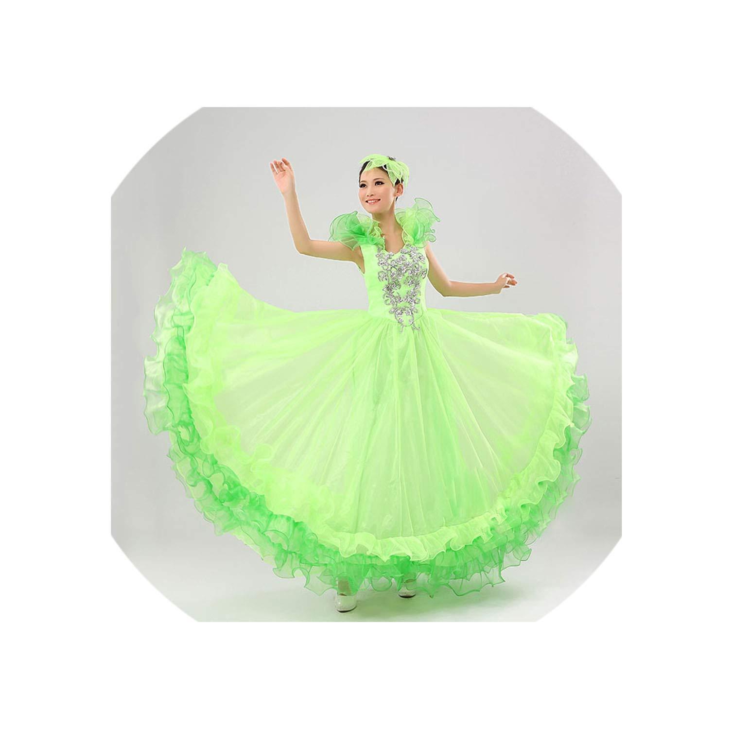 Bullfight Belly 540 Degree Dance Dress Skirt Long Robe Flamenco Skirts Dresses for Women Girls,6,S by Colourful Day Dance Dress