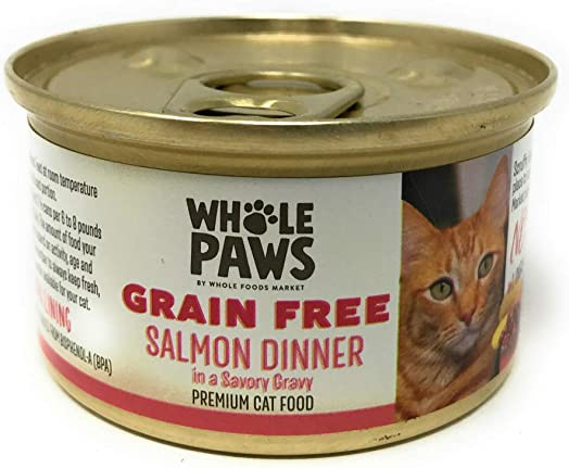 Whole Paws, Cat Food Can Salmon in Broth, 3 Ounce