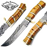 Cheap Olive Wood 12″ Fixed Blade Custom Handmade Damascus Steel Skinner Hunting Knife Brass Bolster Spacers Unique Beautiful File Work On Handel A Piece of Art 100% Prime Quality