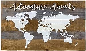 Parisloft Rustic Wood World Map Decor Adventure Awaits, Decoartive World Map Wall Plaque Sign Decor, 28x 16.75 Inches