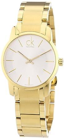 Calvin Klein K2G23546 - Reloj analógico de cuarzo para mujer con correa de acero inoxidable bañado, color dorado: Amazon.es: Relojes