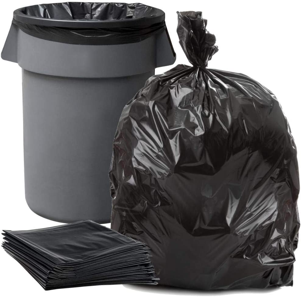 """Plasticplace 55-60 Gallon Trash Bags │ 1.5 Mil │ Black Heavy Duty Garbage Can Liners │ 38"""" x 58"""" (50 Count)"""