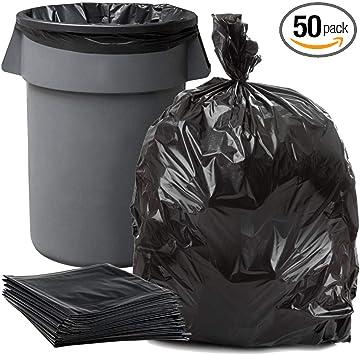 50 Ct 55 Gallon Heavy Duty Clear High Density Trash Garbage Bag Liner 1.5 Mil