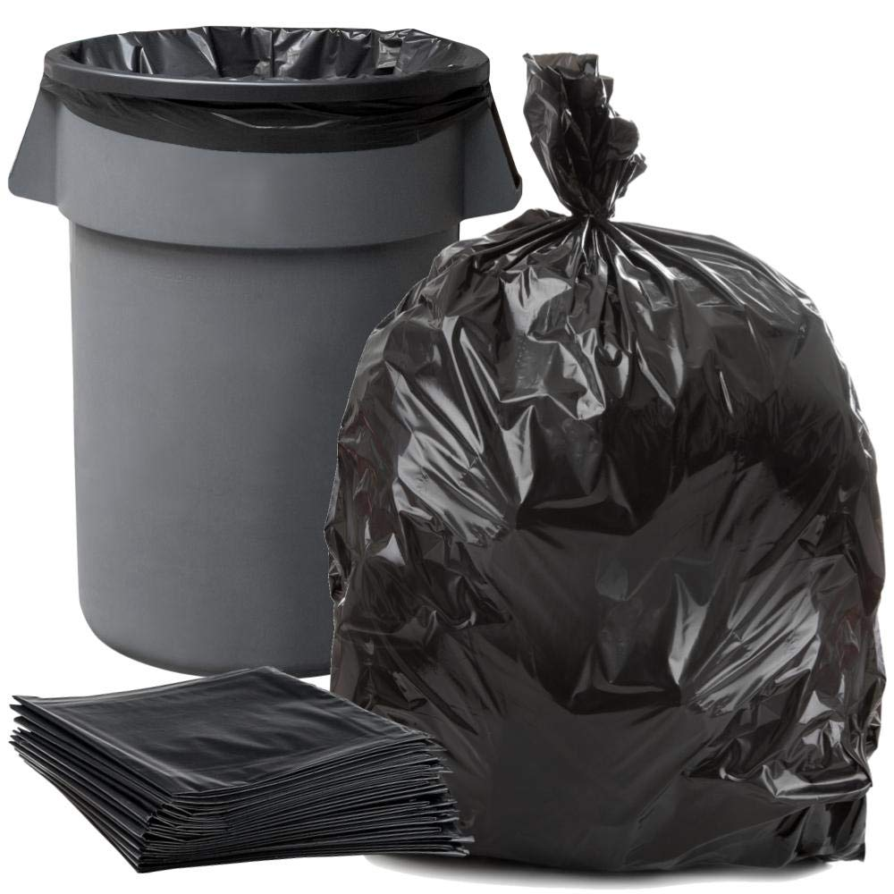 """Plasticplace 55-60 Gallon Trash Bags │ 1.2 Mil │ Black Heavy Duty Garbage Can Liners │ 38"""" x 58"""" (100Count)"""