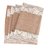 country kitchen table diy Outus Burlap Lace Table Runner Hessian Table Cloth for Country Outdoor Wedding Party Decor