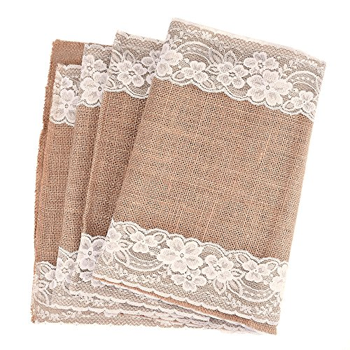 Outus Burlap Lace Table Runner Hessian Table Cloth for Country Outdoor Wedding Party Decor