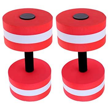 D DOLITY 2 Pcs de Flotantes Mancuernas Color Rojo para Juegos y Ejercicios Acuáticos Perfecto Equipo