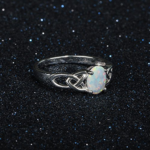 Furious Jewelry 925 Sterling Silver Oval Created Opal Trinity Celtic Knot Band Ring, Size 6 7 8 (7) by Furious Jewelry (Image #5)