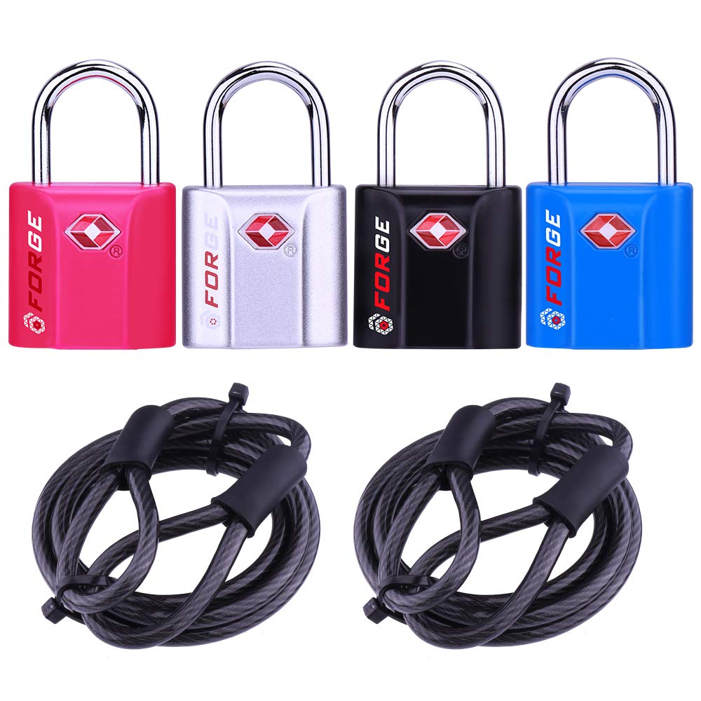 4 Colors TSA Approved Luggage Locks with Cables