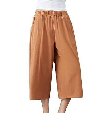 Leinenhose Damen Fashion Casual Loose Weiten Bein Hose Elastisch High Waist  Mädchen Einfarbig Bequeme Elegante Palazzo 62b8770d2f