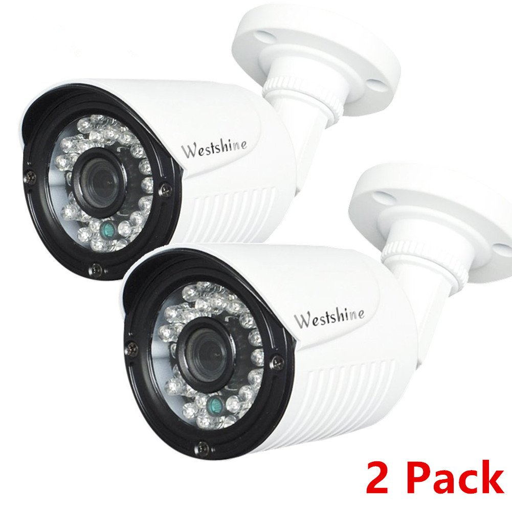 Westshine 2Pcs Security Bullet Camera 1080P 2.0MP 1/2.7 Sensor 3.6mm Lens 4-in-1 AHD/TVI/CVI/CVBS Camera with OSD Menu IR Cut 30 LEDs 83ft Night Vision Weatherproof Outdoor Indoor Cameras(2pcs) WS-RA520AC-4N1-2P