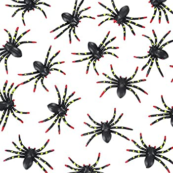 Hicarer 24 Pack Halloween Plastic Fake Spiders Stretchy and Scary Party Favor Decoration, 2 x 3 Inches