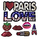 Riverbyland Sew On Sequin Patches Paris Theme Assorted 8