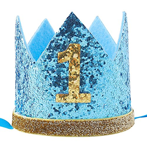 4c9ba91c36c4a Maticr Glitter Baby Boy Girl First Birthday Crown Number 1 Headband Little  Prince Princess Cake Smash Photo Prop (Tiny Sky Blue 1)