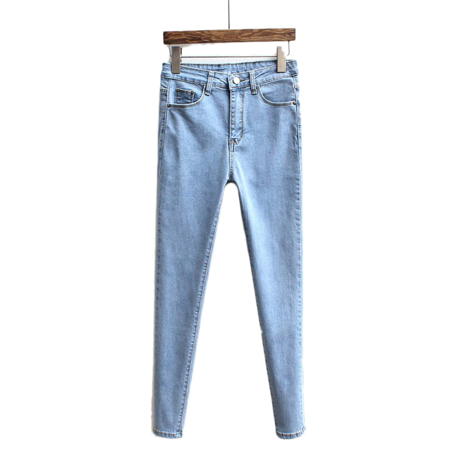 OEMNCD Slim Jeans for Women Skinny High Waist Jeans Woman Blue Denim Pencil Pants