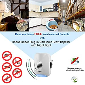 Hoont Indoor Plug-in Ultrasonic Pest Repeller with Night Light - Pack of 4 - Eliminate All Rodents and Insects [UPGRADED VERSION]