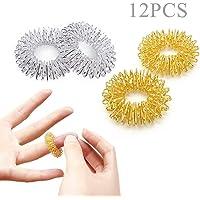 Ealicere 12 piezas Anillos de masaje de dedos,Set