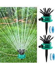 2 Pieces Lawn Sprinkler Garden Sprinkler 360 Degree Adjustable Lawn Sprinkler Small Area Water Sprinkler Flexible Garden Irrigation Water Sprinkler with 2 Tape for Lawn, Garden, Yard, Flower