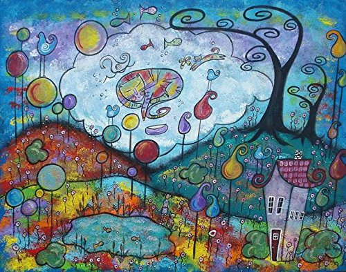 Wall Art Print entitled Kitty Dreams by Juli Cady Ryan