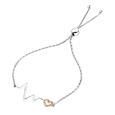 Amazon Com 110 Cttw Diamond Bolo Bracelet Rose Gold Plated Over