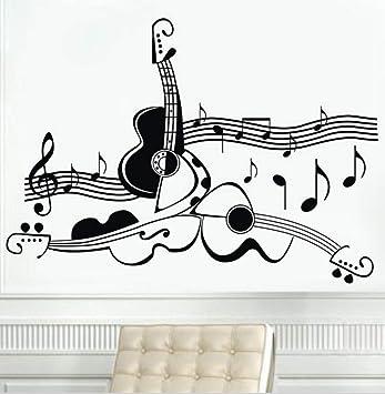 Hjcmhjc Instrumento De Guitarra Musical Clásico Vinilo Tatuajes De Pared Diseño Original Música Guitarra Etiqueta De La Pared Para La Decoración Casera ...