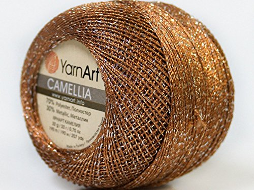 Brown Silver Metallic Braid Thread Camellia #34766 - 20 gram 207 yards Fine Crochet Thread