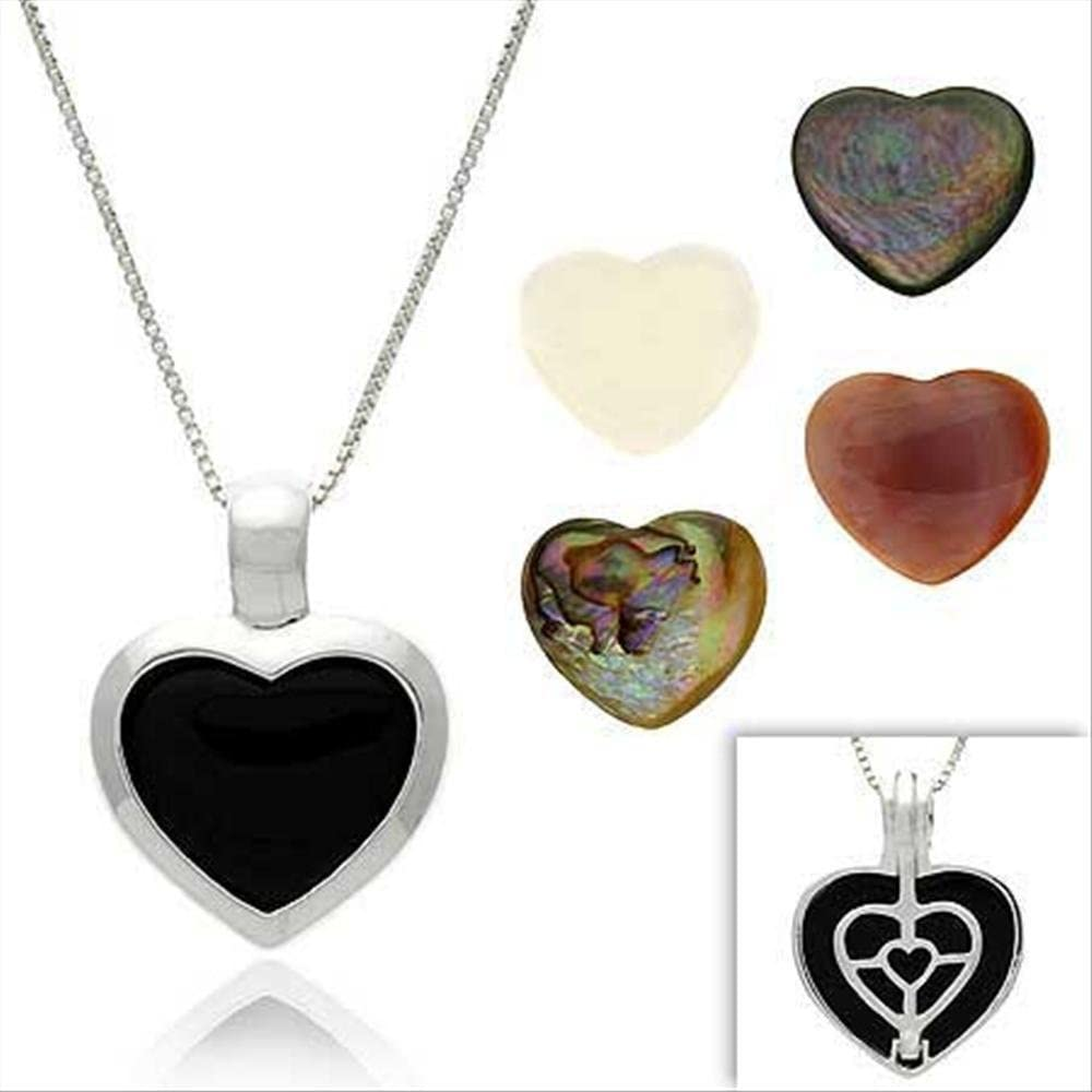 925 Sterling Silver Black Onyx Mother Of Pearl Reversible Heart Pendant Charm Necklace Love Fine Jewelry Gifts For Women For Her