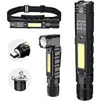 Portable Flashlight, 800 Lumens USB Rechargeable Tactical Flashlight, 90 Degree Rotate, Magnet tail, Flashlight IPX4…