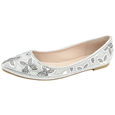 Bella Marie Women's Floral Rhinestone Beaded Slip on Ballet Flat | Shoes