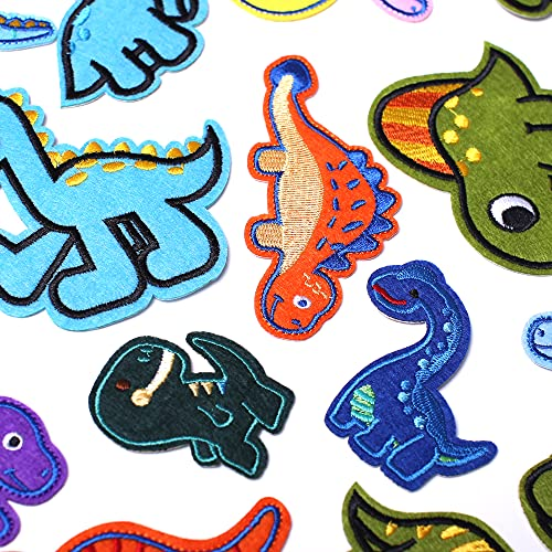 AXEN Embroidered Dinosaur Iron on Patches DIY Accessories, Assorted Dinosaur Decorative Patches, Cute Applique Patches for Jackets, Hats, Backpacks, Jeans, 26 Pieces Package
