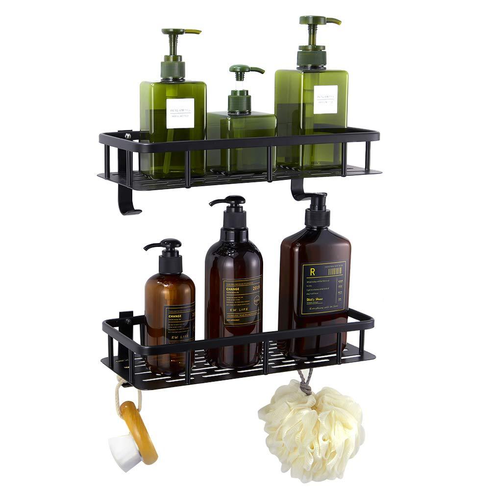 Hoomtaook Bandeja de baño rectangular negra, Cesta de ducha, Aluminio aeroespacial, Organizador de