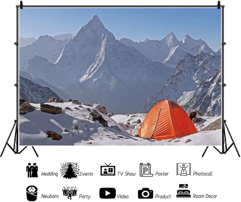 10x6.5ft Camp Theme Backdrop for Photography Vinyl Winter Snow Mountains Snowfield Camping Scene Background Hiking Adventure Tourist Exploration Shoot