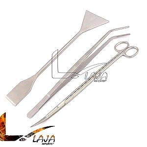 LAJA Imports 3in1 Aquarium Aquatic Live Plants Maintenance Tweezers Scissors Leveler Tool Kit