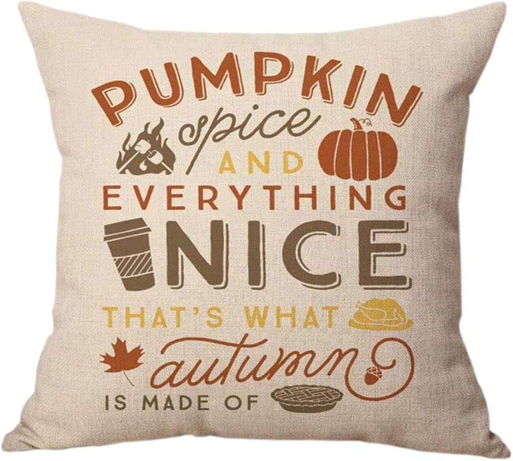 MFGNEH Fall Decor Cotton Linen Pillow Covers 16x16, Pumpkin and Letters Home Decorative Throw Pillow Case Cushion Cover for Sofa