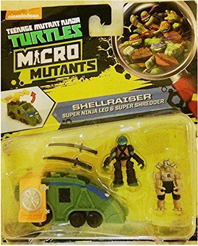 """Teenage Mutant Ninja Turtles Micro Mutant Shellraiser with 1.15"""" Scale Super Ninja Leonardo & Super Shredder Figures Vehicle"""