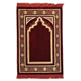 Double Turkish Islamic Prayer Rug Plush Velvet Janamaz Prayer Mat (Red)
