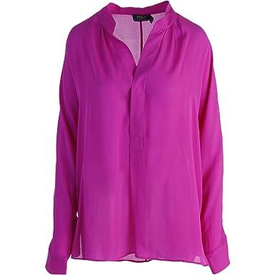1252422d9c0c0 Polo Ralph Lauren Womens Silk Georgette Blouse - Pink -  Amazon.co.uk   Clothing